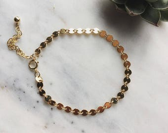 Gold filled sequin bracelet, Lola, tiny disc bracelet