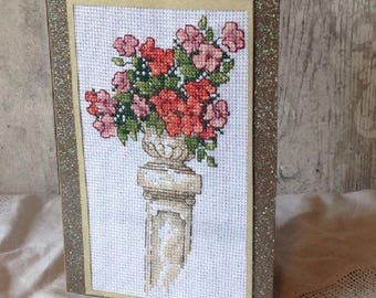 Urn of Flowers Cross Stitched Card