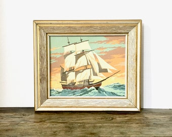 Vintage Paint by Number Oil Painting Sailboat / Nautical Seascape / Wooden framed Paint by number