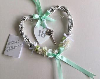 18 girls Birthday shabby chic hanging heart  keepsake gift