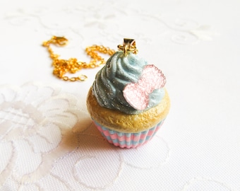 Cotton Candy Cupcake Necklace / Charm Necklace / Food Necklace / Cute Necklace / Polymer Clay / Sweet lolita / Necklace