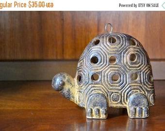 CIJ SALE 25% OFF vintage retro hanging ceramic turtle candle holder / votive holder / rustic candle holder