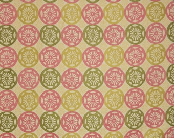 Pink Green Geometric Upholstery Fabric