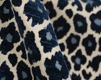 Simba Navy Blue Chenille Upholstery Fabric