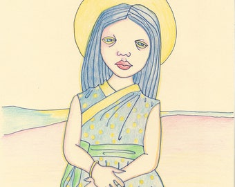 Valeria Goes to the Beach! 8x10 original drawing