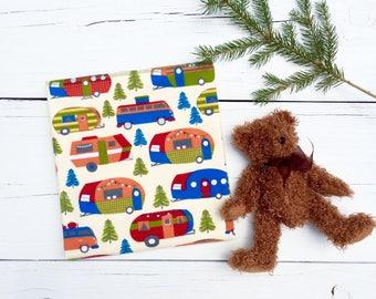 Receiving Blanket, Camping, Fishing Baby Boy Blanket, Baby Shower Gift, Swaddle Blanket, Flannel Receiving Blanket, Newborn Blanket, Camper