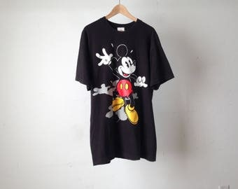 MICKEY MOUSE 90s solid black COTTON t-shirt made in usa