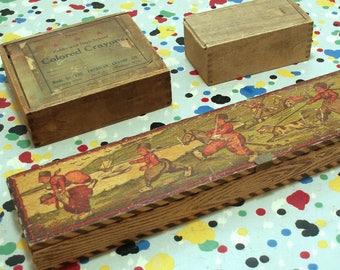 Vintage Wood Pencil Box Crayon Box and Small Box