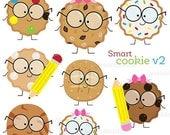SALE Smart Cookie v2 Cute Digital Clipart, Cookie with Glasses Clipart, School Clipart, School Clip art, Cookie Clipart, Children Graphics,