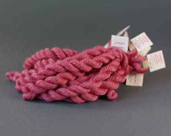 Naturally dyed embroidery yarn, hand-dyed, wool, silk, cashmere thread, embroidery floss, 20m, COCHINEAL, pink color,  305