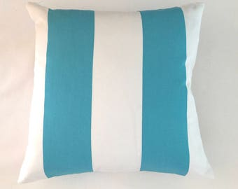 SALE 18x18 Blue and White Indoor Outdoor Cabana Stripe Pillow Cover
