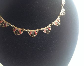 Art Deco Necklace, Red and Black, Enamel Necklace, 1920s/30s, Antique Necklace, Wedding, Prom