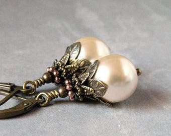 Victorian Cream Pearl Earrings Ivory Pearl Bridal Earrings White Pearl Drops Bridesmaid Gift Rustic Boho Woodland Wedding Antique Brass