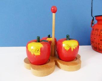 1960's Wooden apples salt and pepper set