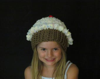 Crochet Cupcake Hat ~ Size Small ~ Light yellow top with blue and pink sprinkles/Medium brown bottom
