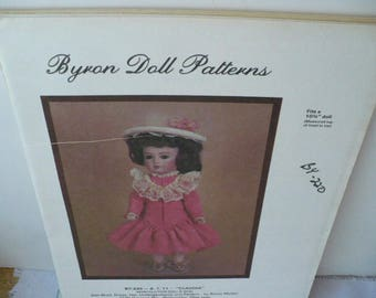 Baby Doll Sewing Pattern Gift, Byron Claudia Baby Doll Pattern, Doll Dress Pattern, DIY Doll Dress, 10 3/4 Inch