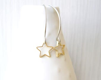 Mixed Metal Dangle Earrings, Titanium, Gold Star, Silver Contemporary Jewelry, Simple,  Modern, Metal, Drop, Nickle Free Earwires