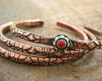 3 bracelet set stackable copper bracelets - Ancient Alchemy - cuff bracelets boho jewelry, southwestern bohemian rhinestone layering jewelry