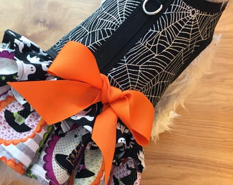 Halloween Spider Web and ruffle Small Dog Harness Made in USA, dog harness, dog harnesses