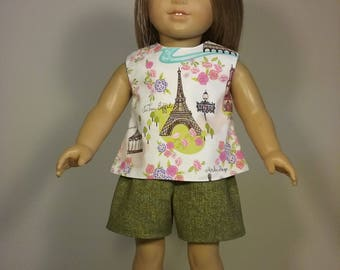 18 inch Doll Clothes Short Set Paris Print Top and Green Shorts fits dolls like the American Girl Doll Clothes Handmade