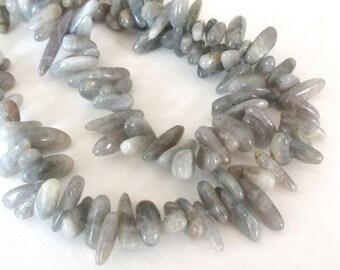 "Labradorite Beads - Blue Flashy Labradorite Spike - Smooth Long Drilled Stone - Gray Freeform Irregular Stick - DIY Jewelry - 16"" Strand"