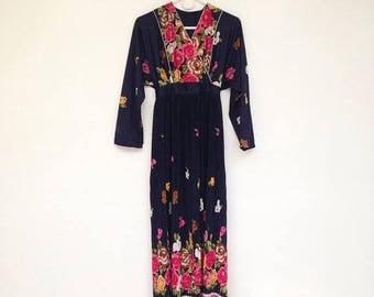 SALE Vintage 1970s Gorgeous Floral Batwing Crinkled Maxi Tie Back Sundress