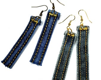 Upcycled Jeans, Jeans Earrings, Denim Earrings, Blue Dangle Earrings,  Upcycled  Fabric, Belt Hoop, Denim Fashion, Repurposed Jewelry