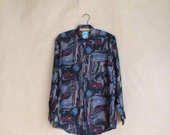 WEEKEND SALE! vintage 1990's mens shirt / silk button down shirt / color block / club wear / patch pocket / size s