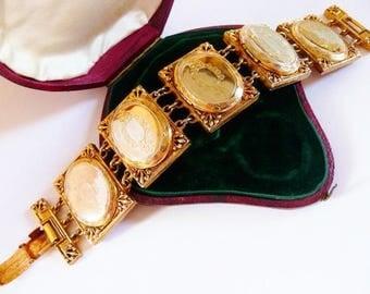 Hattie Carnegie designer locket bracelet   Victorian Revival   vintage gold tone   1940s 1950s   three oval charm lockets