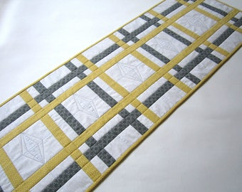 Table Runner Quilted, Gray and Gold Table Runner, Handmade Table Runner, Quilted Table Runner, Table Runners, Modern Table Runner