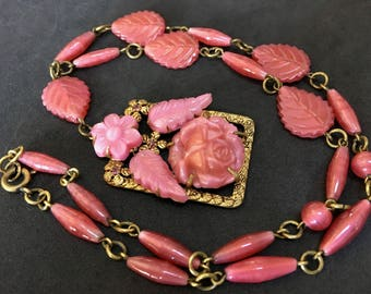 Signed Czechoslovakia Pink Satin Glass Roses Leaves Czech Pressed Glass Art Deco Necklace – 1920s