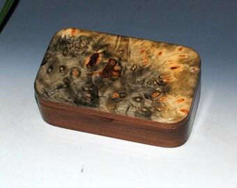 Small Wood Treasure Box - Buckeye Burl on Walnut - Handmade by BurlWoodBox - Trinket Box, Keepsake Box,Small Jewelry Box, Small Wooden Box