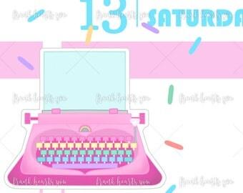 Rainbow Typewriter Planner Stickers