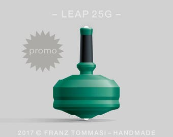 LEAP 25G Green Spin Top with green polymer body, ergonomic stem with rubber grip, and dual ceramic tip