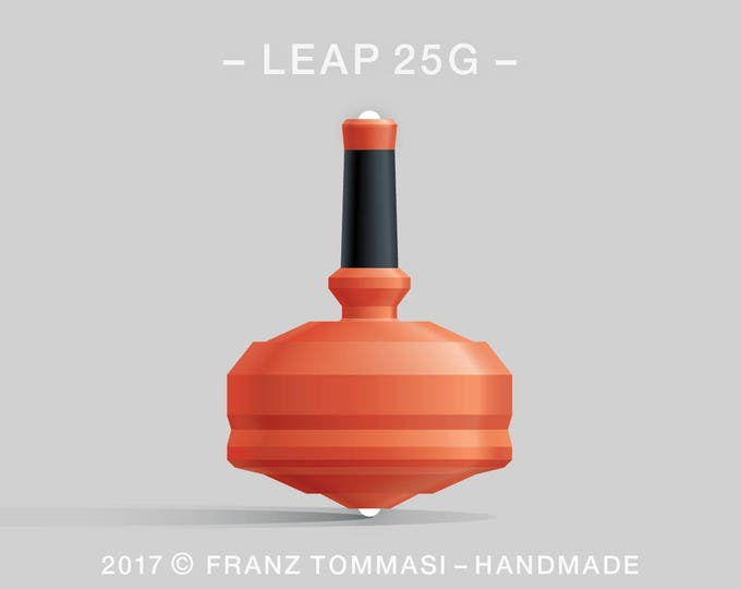 LEAP 25G Orange Spin Top with rubber grip and dual ceramic tip