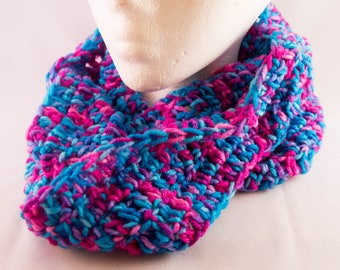 Hot Pink & Teal Crocheted Infinity Scarf
