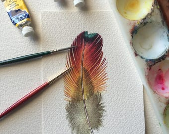 Rainbow feather - original watercolour paintkng