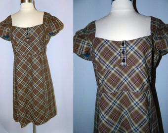Brown and Black Plaid Dress - Maeve - 1980's