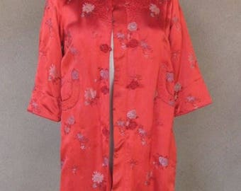 Fire engine red Chinese Jacket with front pockets