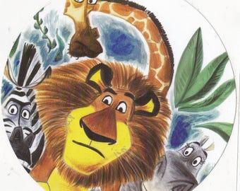 Jumbo Sticker Madagascar Decal Animals Kids Crafts Lions Zebras Giraffes Hippos Disney Dreamworks OOAK
