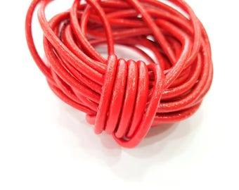 Leather Red Cord 1mt-3.3 ft (4mm) Round Leather Lacing G7938