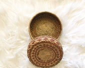 Small Woven Basket With Lid Boho Basket Southwestern Decor Bohemian Jewelry Box Gift Woman