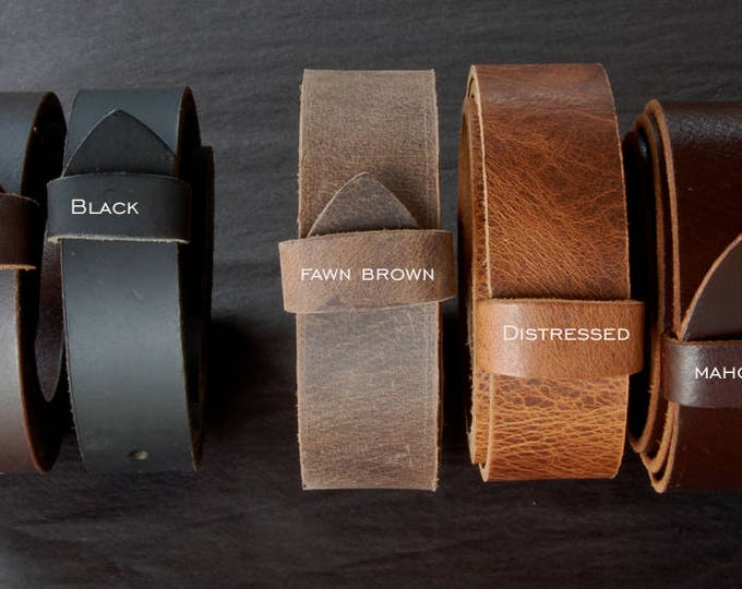 """Leather Belts with Snaps for Suits or Jeans Custom Cut Buffalo Leather Belts 1.5"""" and 1.25"""" Wide for Men Ladies Kids Made to Measure for YOU"""