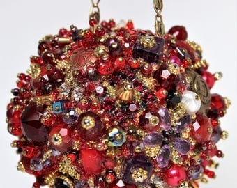 Bejeweled Ornament RED Purple Art Piece HANDMADE Vintage Jewelry