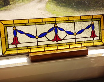 Stained Glass Transom - Victorian Ribbon Panel