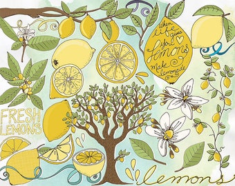 Yellow Lemon ClipArt, Lemon Blossom Flowers + Hand Drawn Lemon Tree, Card Making, Retro Summer Citrus Fruit Vine & Branch