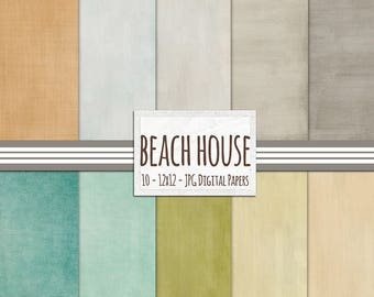 Pastel Solid Digital Paper - Summer Beach House - Textured Paper Digital Backgrounds -  Destination Wedding Invitation Supplies