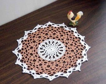 Farmhouse Table Decor Crochet Lace Doily, Rustic Modern, Copper Brown and White, Country Cottage Chic Home Decor, Gift for Her or Him