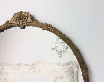 "DECORATIVE ANTIQUE MIRROR For Sale Baroque Patina Gold 33""x29"" Oval Vintage Mirror Gold Solid Wood Gold Vintage Mirror Decorative"