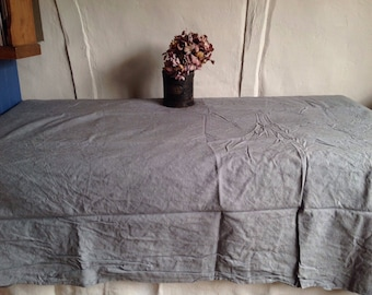 """Vintage Tablecloth, Large Double Sheet, Grey Blue Dyed Cotton / French Bedlinen, Vintage Home Decor 78"""" x 118"""""""